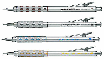 4 X Pentel GRAPHGEAR 1000 Mechanical Drafting Pencil PG1013,15,17,19