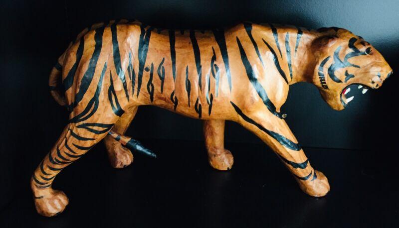 Vintage Burmese Tiger Figure, Leather Covered, Handmade