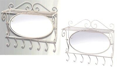 MIRRORED WHITE IRON WALL SHELF w/ 7 COAT OR TOWEL HOOKS *20.2
