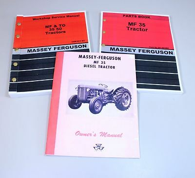 Set Massey Ferguson Mf-35 Diesel Tractor Service Operator Parts Manual Repair