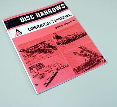 Allis Chalmers 3100 3200 3300 3400 Disc Harrow Owners Operators Manual