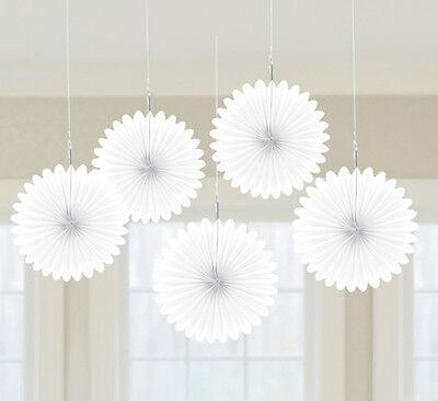 5 X Schön Weiß Papier Ventilatoren Hängende Dekoration - Schneewittchen Party Dekorationen