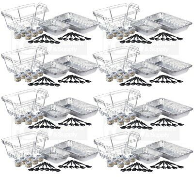 24 Full Size Disposable Buffet Catering Serving Set Chafing Dish Chafer Fuel Kit