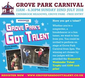 PERFORMERS WANTED - Talent Show £100 Cash Prize Grove Park London 2pm Sunday 22nd July