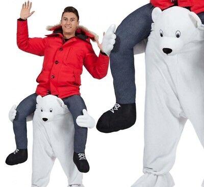 Uomo Carry Me Orso Polare Costume Adulti da Mascotte Cervo Festa di Natale