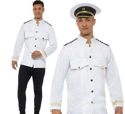 Herren Matrose Captain Jacke Erwachsene Marine Offizier Uniform WW2 Kostüm (Captain Jack Herren Kostüme)