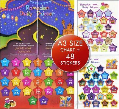 Ramadan Daily Stickers Chart Eid Countdown Muslim Advent Calendar  Islam Eid D