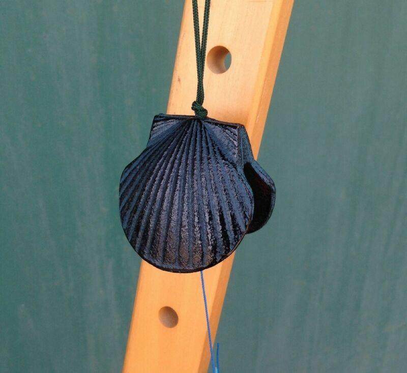 Furin Wind Chime  Bell Nanbu Cast IronHandcraft Shell Motif Made in Japan