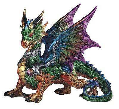 Green Multi Color Dragon Statue Figurine Mythical Fantasy Collectible Statuette