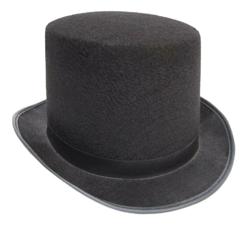 Black Top Hat Felt Topper Slash Steampunk Victorian Charles Dickens