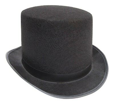 Black Top Hat Felt Topper Slash Steampunk Victorian Charles Dickens - Steampunk Top Hat