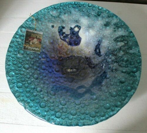"Il Quadrifoglio Turquoise Art Glass Bowl Blue Metallic Tuscany Italy 12"" Aqua"