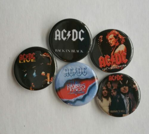 """Set of 5 1.25"""" Pinback Buttons Rock Band AC/DC (Approx. 32mm)"""