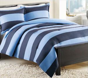 twin izod rugby stripe navy blue overstuffed comforter sham set. Black Bedroom Furniture Sets. Home Design Ideas