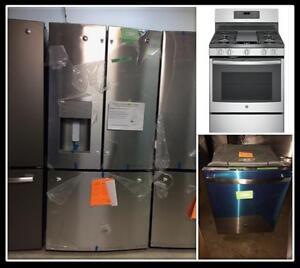 Dishwasher, refrigerator and range set, Stainless steel