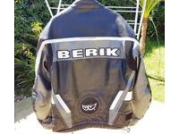 Berik Leather Motorcycle Jacket Black/Graphite UK 46 Chest Excellent Condition