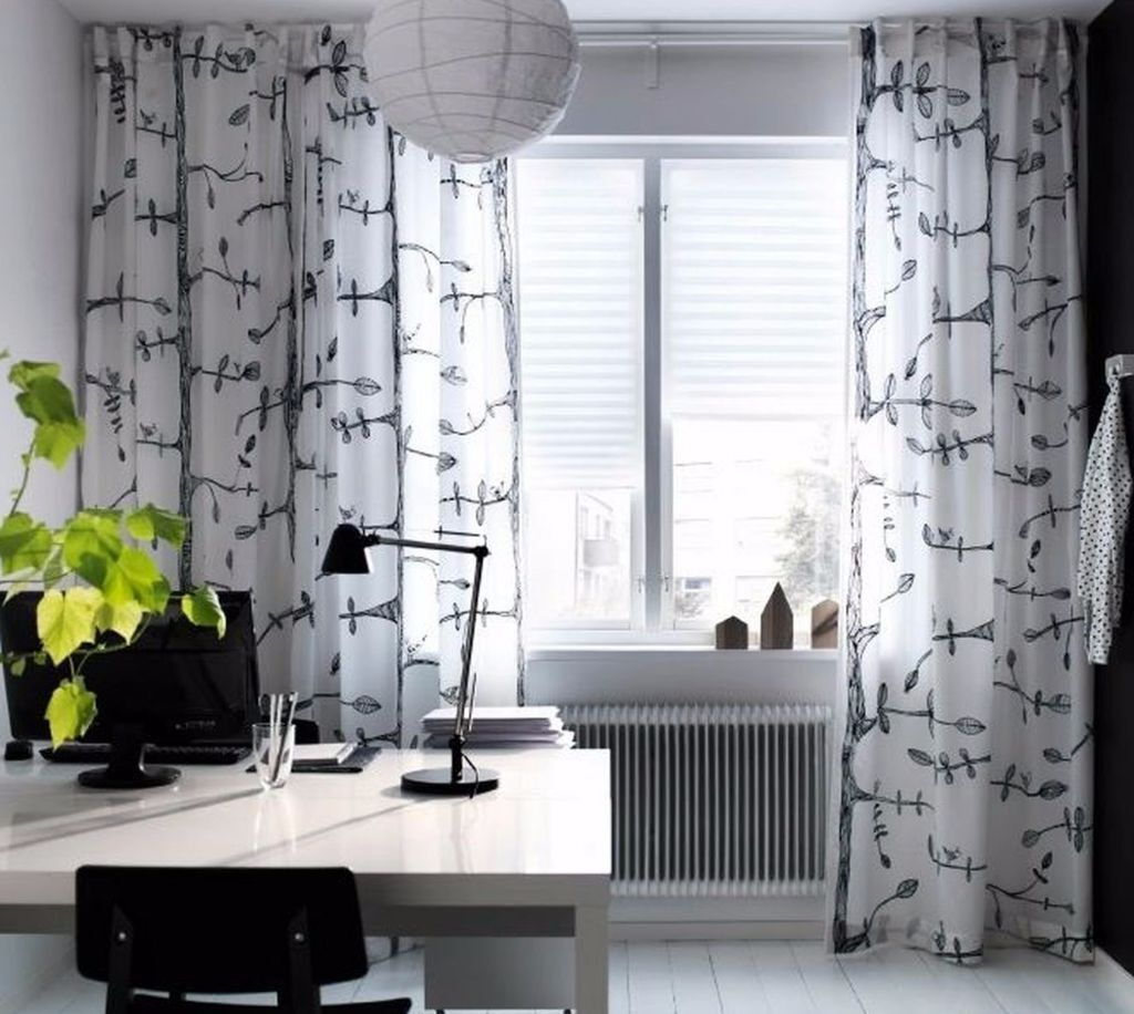 Ikea Tree and Bird Pattern Thin Curtains, 1 Pair, White/black | in ...
