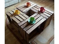4 Strong&Solid Vintage Wooden Fruit Apple Crates Boxes - Cleaned!