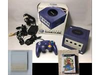 Nintendo Gamecube Purple with contoller memory card and Super Mario Sunshine