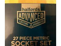 Halfords advance 28 piece metric socket set brand new and sealed.