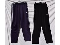 "x2 Pairs Adidas UK 36"" Mens or Ladies Blue & Black Tracksuit Bottoms Jogging Trousers W31-41"" & L31"""