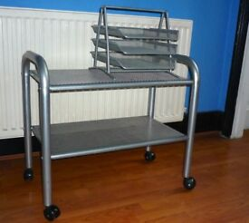 Habitat Trolly table plus filing shelves