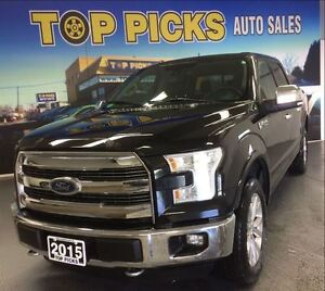 2015 Ford F-150 LARIAT CREW, PAN ROOF, NAVI, LEATHER, 20'S, V8!