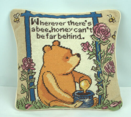 Winnie Pooh Bees Classic Disney Decor Throw Pillow Needlepoint wool velvet