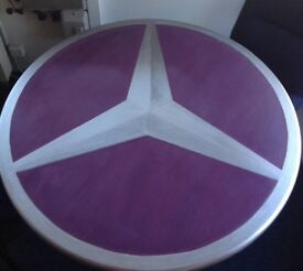 Round Table Painted With Mercedes Star Logo