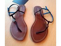 Lauren By Ralph Lauren Aimon Leather Flat Sandals Buckle - 6.5 UK - Black