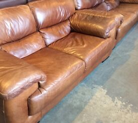 3 and 2 tan leather sofas