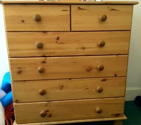 Wood chest of drawers 4 (+2 smaller ones) vgc