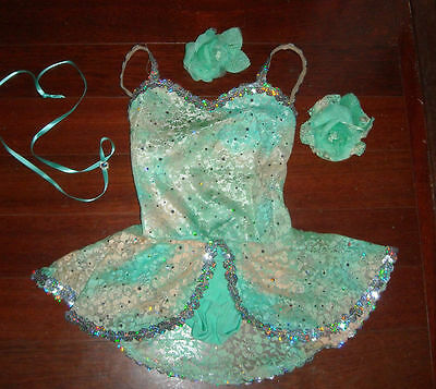 NWT NWT GLITTERED SEQUINED SKIRTED LEOTARD Pistachio green Dance Costume