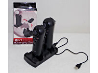 SONY PLAYSTATION PS4 PSVR 2 x NAVIGATION CONTROLLERS & CHARGE DOCK FOR VR GAMING