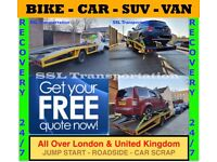 CAR VAN JEEP 4X4 All London & UK RECOVERY TOWING TRUCK SERVICE ROADSIDE JUMP START TOW BREAKDOWN