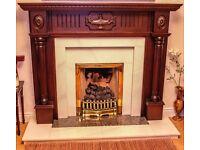 Fireplace White Marble/Granite with Mahogany surround