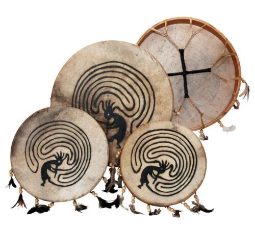 "Shaman drum painted 14"" with goat skin, Frame Drum, handmade"