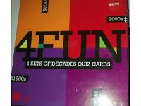 4 SETS OF DECADE QUIZ CARDS NEW