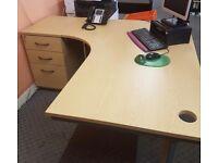 Office desks with matching 3 drawer units