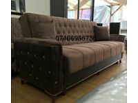 🤘😍MODERN BRAND NEW ROSE SOFA BED TURKISH FABRIC BROWN GREY BLACK AVAILABLE