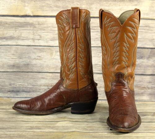 Dan, Post, Cowboy, Boots, Brown, Lizard, Leather, Mens, Size, 9.5, D, Distressed, Vintage