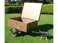 Small Camping Trailer Car Trailer with spare wheel. All metal with solid metal lockable lid.