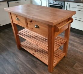 Butcher's block beech top kitchen island table, hand made, COLLECTION ONLY G43