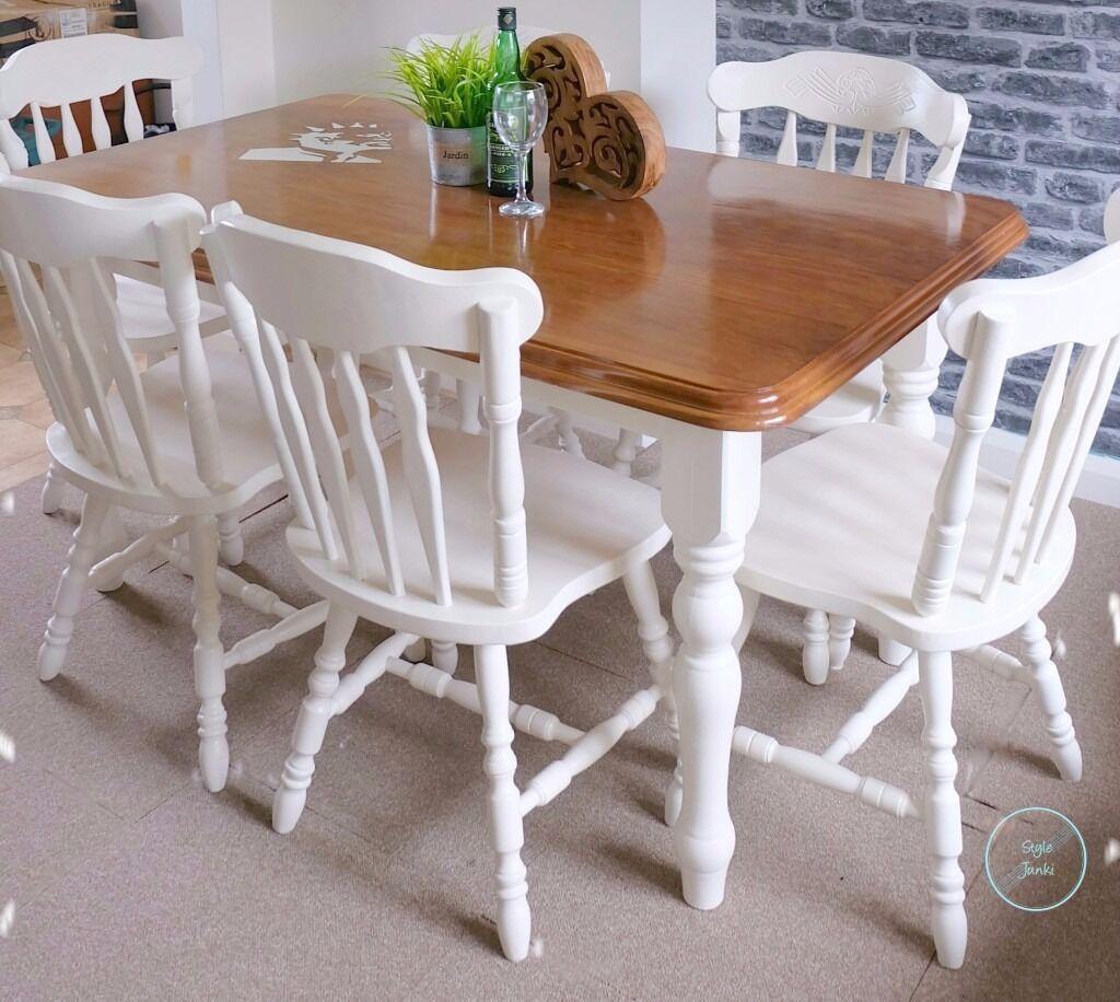 Shabby Chic Farmhouse Table Chairsmodern Handmadeone Of A