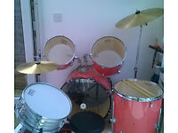Session Pro drum kit with stool and extra drumheads in good condition -STILL AVAILABLE £60 o.n.o.