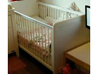 Urgent Mamas and Papas cot bed white with mattress