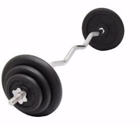 EZ Curl Bar Weight Set Weight Training Cast Iron Weight Plates From £27: NEW
