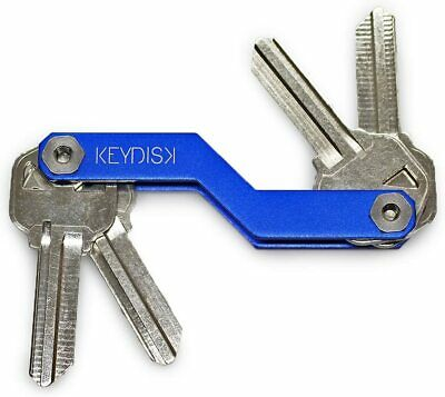 KEYDISK Mini•Slim Key Holder•Aerograde Anodized Aluminum•Compact Keychain-Blue