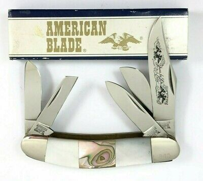 American 5 Blade Sowbelly Stockman Knife Pearl & Abalone YOURS FOR LIFE 4856-QO