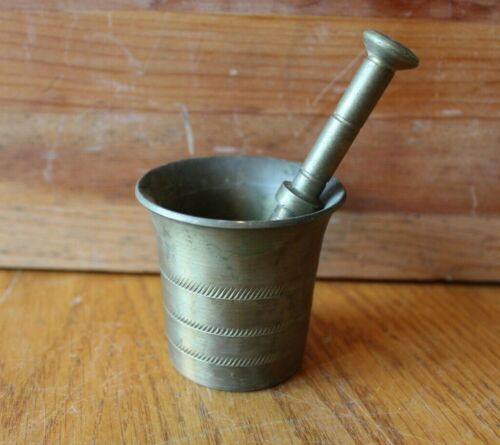 Brass Mortar and Pestle Vintage Mini Small Solid Brass Antique No Handles
